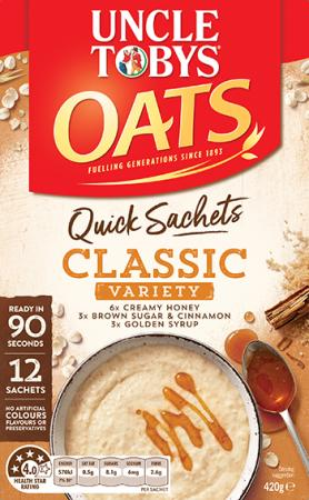Uncle Tobys Quick Sachets Classics Variety Pack