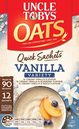 Uncle Tobys Quick Sachets Creamy Vanilla Variety Pack